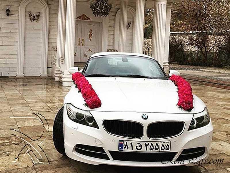 تزیین ماشین عروس با گل رز 3